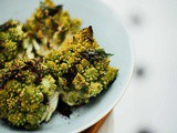 Roasted romanesco with garlic and curry leaf