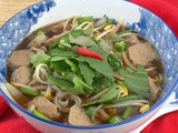 Pho Bo Vien ~ Vietnamese Noodle and Beef Meatball Soup #SoupSwappers