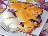 Blueberry-peach cobbler with sugar cookie crust