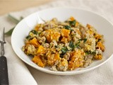 Roasted butternut squash with quinoa, sausage and greens