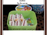 Cream cheese and jam sandwiches for kids lunch box