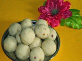 Rava coconut ladoo using sugar syrup - Semolina coconut laddu recipe