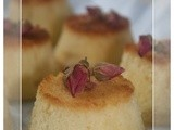Mini upside down cakes with rose buds and rose water syrup