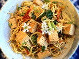 Tomato tofu with vegetables and Hokkien noodles