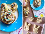 Easter Bunny Cinnamon Rolls (using Pillsbury refrigerated rolls)