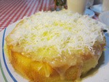 Moist orange cake with coconut topping