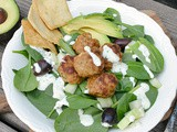 Spinach Salad with Gyro Turkey Meatballs