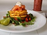 Corn and Quinoa Polenta Fritters with Smoked Salmon