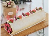 Strawberry Roll with Rose Petal Jam for Valentine's Day 草莓玫瑰花瓣果酱蛋糕券