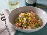 Shrimp, Basil & Corn Zucchini Noodles w/ Meyer Lemon Cream Sauce