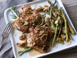 Sunday Supper: Pan-Roasted Chicken w/ Rosemary & Caramelized Garlic | Roasted Lemon Asparagus Almondine