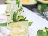 Zucchini Rolls with Hummus, Chicken, Mint and Avocado {gf, df}