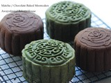 Matcha and Chocolate Baked Mooncakes 绿茶和巧克力烘烤月饼
