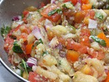 Tomato, eggplant and bell pepper salad