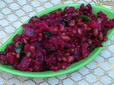 Beetroot Karamani Curry (Spicy Beet fry with Cowpea)