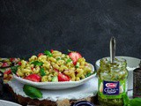 Strawberry & Rustic Basil Pesto Pasta Salad