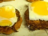 Soft Poached Eggs with Sweet Potato Hash Browns - Donna Hay