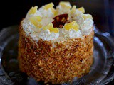Pineapple sponge cake with cream and cashew praline