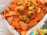 Sweet potato casserole with hot pineapple, ginger relish