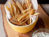 Spicy Oven Baked French Fries with Cucumber Raita