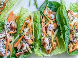 Healthy Chicken Lettuce Wraps With Tahini Sauce (Keto/Paleo/Whole30)