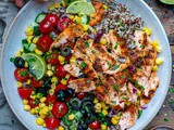 Healthy Grilled Salmon Bowl With Vegetables and Quinoa