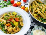 Shrimp Pasta with pesto and cherry tomatoes