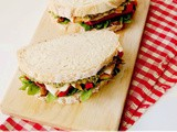 Turkey Sandwich with Zucchini Hummus and Grilled Peppers