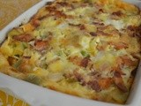 Gratin of Eggs, Leeks, Bacon, and St. Andre Cheese