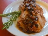 Maple Mustard Pork Chops with Rosemary Cranberry Pan Sauce