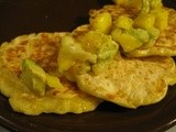 Cheddar and Green Chili Corn Cakes with Mango Avocado Salsa