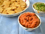 Chip n Dip – Smoky Red Pepper Bean Dip and Chive Guacamole