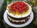 Chocolate Pomegranate Cake with Lemon Curd and Strawberries
