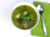 Summer Green Soup with Parsley and Almond Pesto