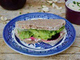 Vegan Cream 'Cheese', Spiced Pickled Beetroot & Lettuce Sandwich