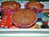 Chocolate-dates whole wheat muffins(Egg less)