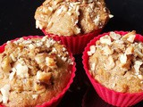 Eggless Whole Wheat Banana Walnut Muffins (No white sugar)