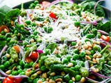 Spinach Pea Salad with Fresh Basil Walnut Pesto