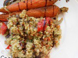 Bulgur with grilled vegetables and pesto