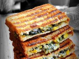 Spinach corn sandwich recipe / grilled cheesy spinach corn sandwich