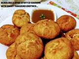 Semolina & spice stuffed kachori with sweet tamarind chutney