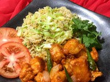 Soya sauce cabbage rice with paneer tossed in ginger-garlic chilli sauce