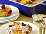 Nectarine, peach, and blackberry cake