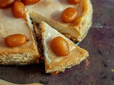 Baked Soan Papdi and Mishti Doi Cheesecake topped with Mini Gulab Jamun