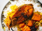 Kumro diye Ilish Macher Jhol (Hilsa fish curry with Pumpkin)