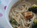 Chilli and tahini noodle soup with broccoli and tempeh