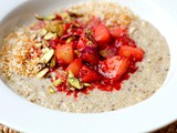 Coconut and spice Quinoa porridge with apple and raspberries