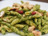 Coriander, ginger and basil pesto pasta with toasted cashews and peanuts