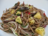 Vegetarian Herby soba noodles with pineapple, a sweet, zingy and spicy dressing and shiitake