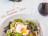 Barley and mushroom salad with poached eggs